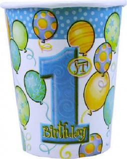 8 Papp Becher Erster Geburtstag blaue Ballons