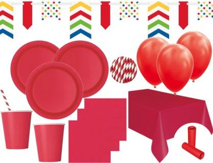 XL 85 Teile Party Deko Set Rot für 16 Personen