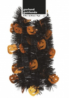 Schwarze Halloween Lametta Girlande mit Kürbis