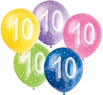 5 Geburtstags Luftballons mit der Zahl 10