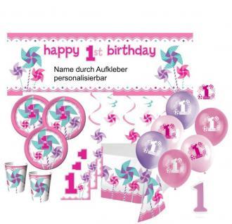XXL 96 Teile Erster Geburtstag Windrad Pink Party Deko Set 24 Personen