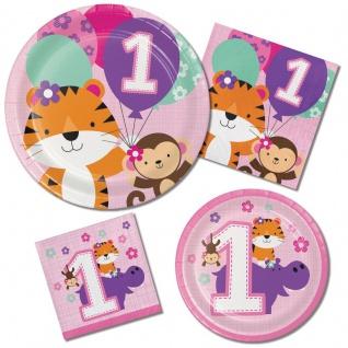 16 kleine Servietten 1. Geburtstag im Zoo Rosa - Vorschau 2