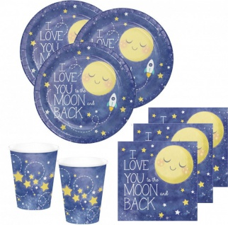 48 Teile I love you to the Moon and Back Party Deko Set 16 Personen für die Baby Shower oder Kindergeburtstag