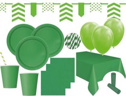 XL 85 Teile Party Deko Set Gras Grün für 16 Personen