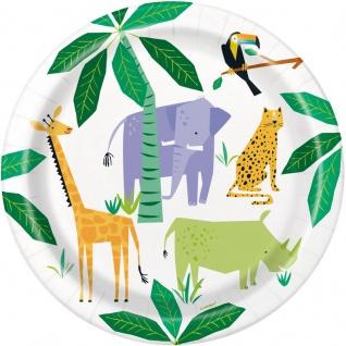 8 Papp Teller Safari und Dschungel Party