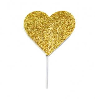 12 glitzernde goldene Herzen Cupcake oder Kuchen Picker