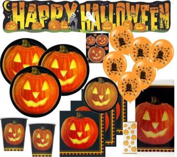 XXL 69 Teile Halloween Party Deko Set Kürbis 8 Personen