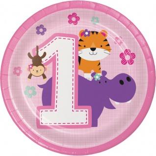 8 kleine Teller 1. Geburtstag im Zoo Rosa