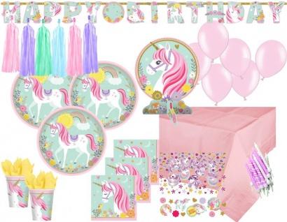 XXL 69 Teile magisches Einhorn in Pastell Farben Party Deko Set für 8 Personen