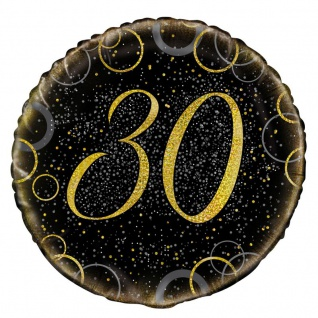 30. Geburtstag Folien Ballon Schwarz Gold