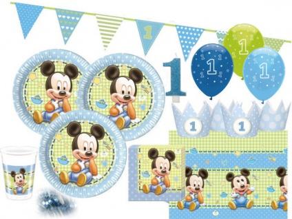 66 Teile Disney Baby Micky zum Ersten Geburtstag Party Deko Set 16 Personen 1. Geburtstag