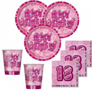 48 Teile zum 18. Geburtstag Party Set in Pink für 16 Personen