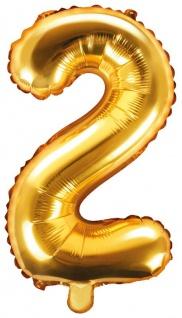 Folienballon Zahl 2 Gold Metallic 35 cm