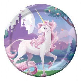 8 kleine rosa Einhorn Teller