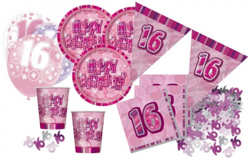 16. Geburtstag 56 Teile Sweet Sixteen Party Set Pink 16 Personen