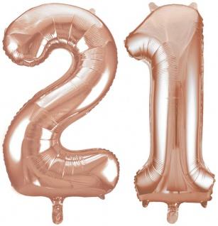 Folien Ballon Zahl 21 in Rosegold - XXL Riesenzahl 86 cm zum 21. Geburtstag