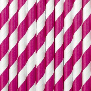 10 Papier Trinkhalme pink weiß gestreift - Vorschau 1