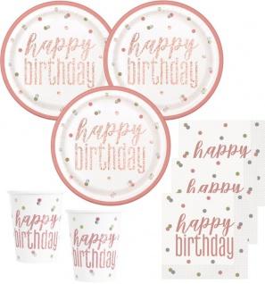 32 Teile Happy Birthday Urban Apricot Glitzer Rosegold Geburtstag Party Set 8 Personen