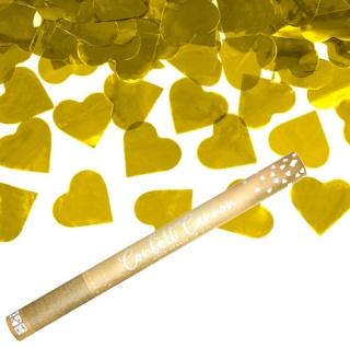 Konfetti Kanone Herzen in Gold 60 cm