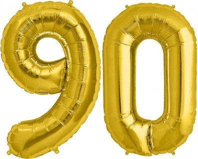Folien Ballon Zahl 90 in Gold - XXL Riesenzahl 86 cm zum 90. Geburtstag in Gold - Jumbo