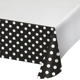 Plastik Tischdecke Punkte und Streifen in Schwarz