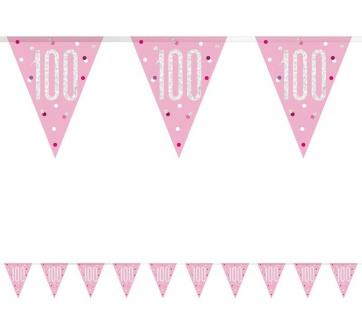 Wimpel Girlande Pink Dots Glitzer zum 100. Geburtstag