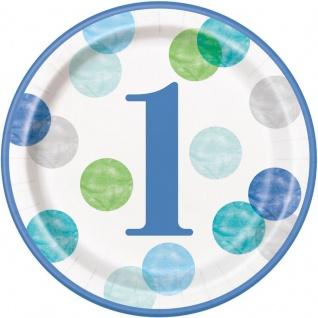 32 Teile Erster Geburtstag Blaue Punkte Party Deko Set 8 Personen - Vorschau 2
