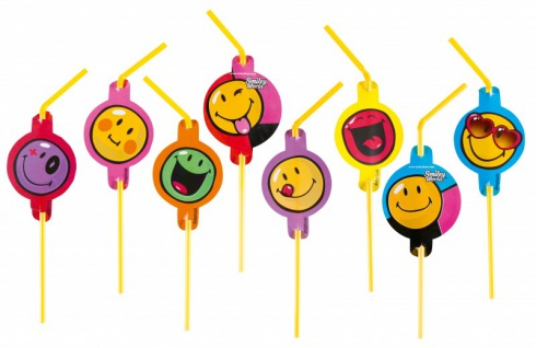 8 bunte Smiley Trinkhalme