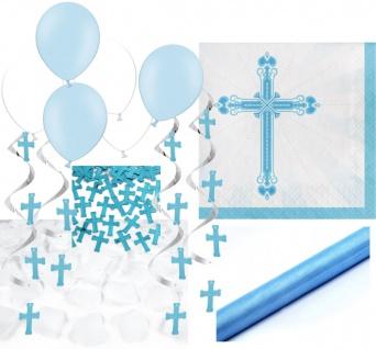 XXL 64 Teile Baby Taufe in Blau Partydekoration Set für bis zu 36 Personen - Kreuz Dekoration
