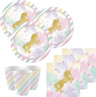 32 Teile goldenes Einhorn in Pastell Farben Deluxe Party Deko Set für 8 Personen
