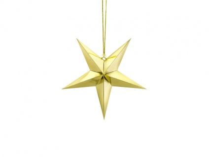 hängender Papier Stern Gold Glanz 30 cm