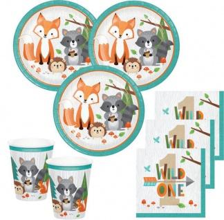 32 Teile kleine Waldtiere zum 1. Geburtstag Deko Set für 8 Personen Wild One