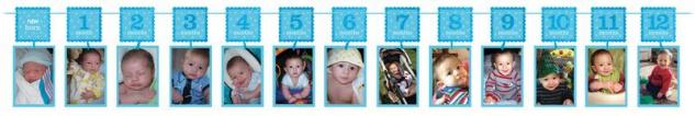 Foto Girlande Erster Geburtstag Blau