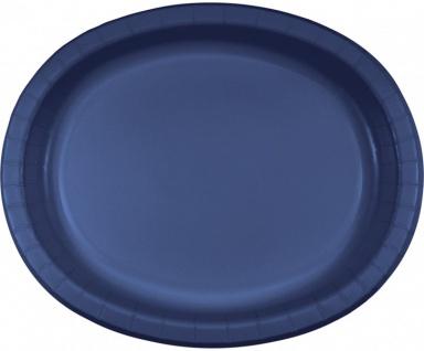 8 ovale Pappteller Marine Blau