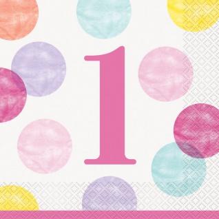 32 Teile Erster Geburtstag Rosa Punkte Party Deko Set 8 Personen - Vorschau 4