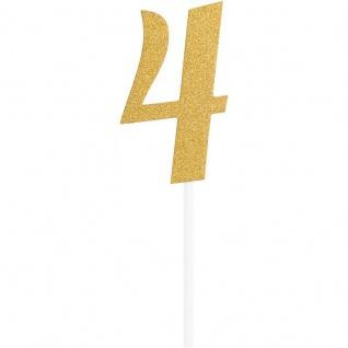 Glitzer Kuchen oder Deko Stecker Zahl 4 Gold