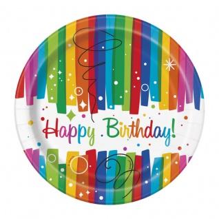 8 kleine Papp Teller Regenbogen Geburtstag