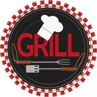 8 kleine Papp Teller Grill Party BBQ Chef