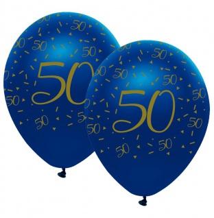 6 Luftballons blauer Achat zum 50. Geburtstag in Gold bedruckt