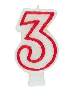 Zahlenkerze in weiß mit rot 3