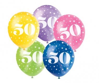 25 bunte Luftballons zum 50. Geburtstag
