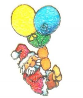 Weihnachtsmann mit Ballons Mini Sticker - ItSticks