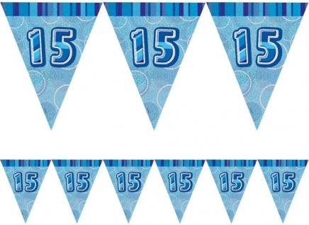 15. Geburtstag Wimpel Girlande Blau