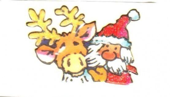 Weihnachtsmann mit Reintier Mini Sticker - ItSticks