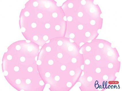 6 Luftballons Pastell Rosa mit Punkten