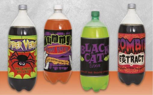 4 Flaschen Etiketten Halloween