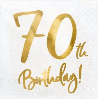 20 Servietten zum 70. Geburtstag in Weiß Gold foliert