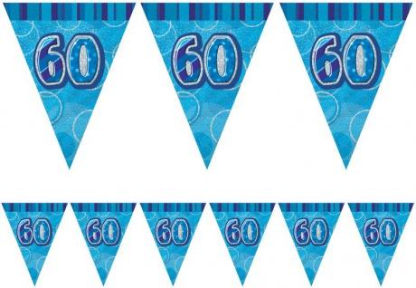 60. Geburtstag Wimpel Girlande Blau