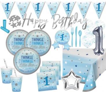 XXL 94 Teile Erster Geburtstag Blinke Kleiner Stern Blau Party Deko Set 8 Personen