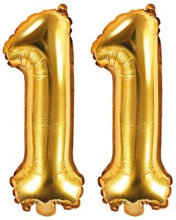 Folienballons Zahl 11 Gold Metallic 35 cm